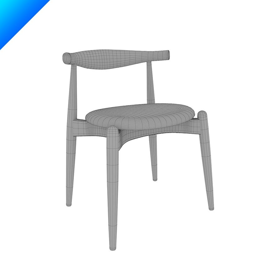 Hans Wegner Ch20 Elbow Chair royalty-free 3d model - Preview no. 9
