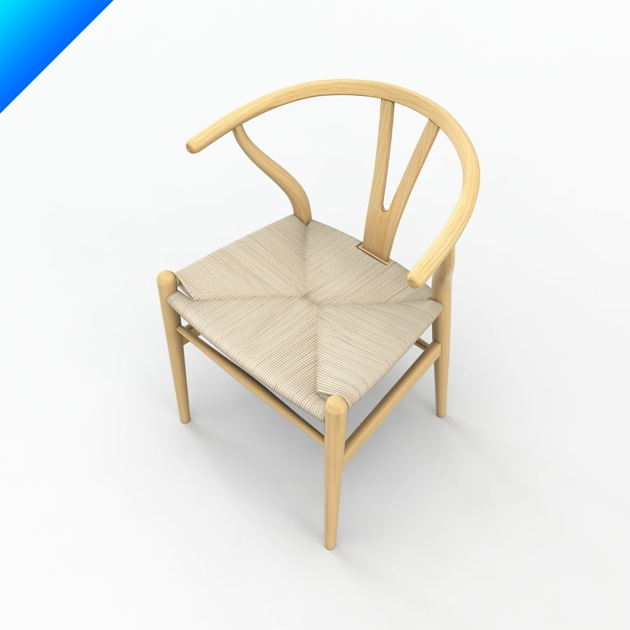 Hans Wegner Ch24 Wishbone Chair royalty-free 3d model - Preview no. 5