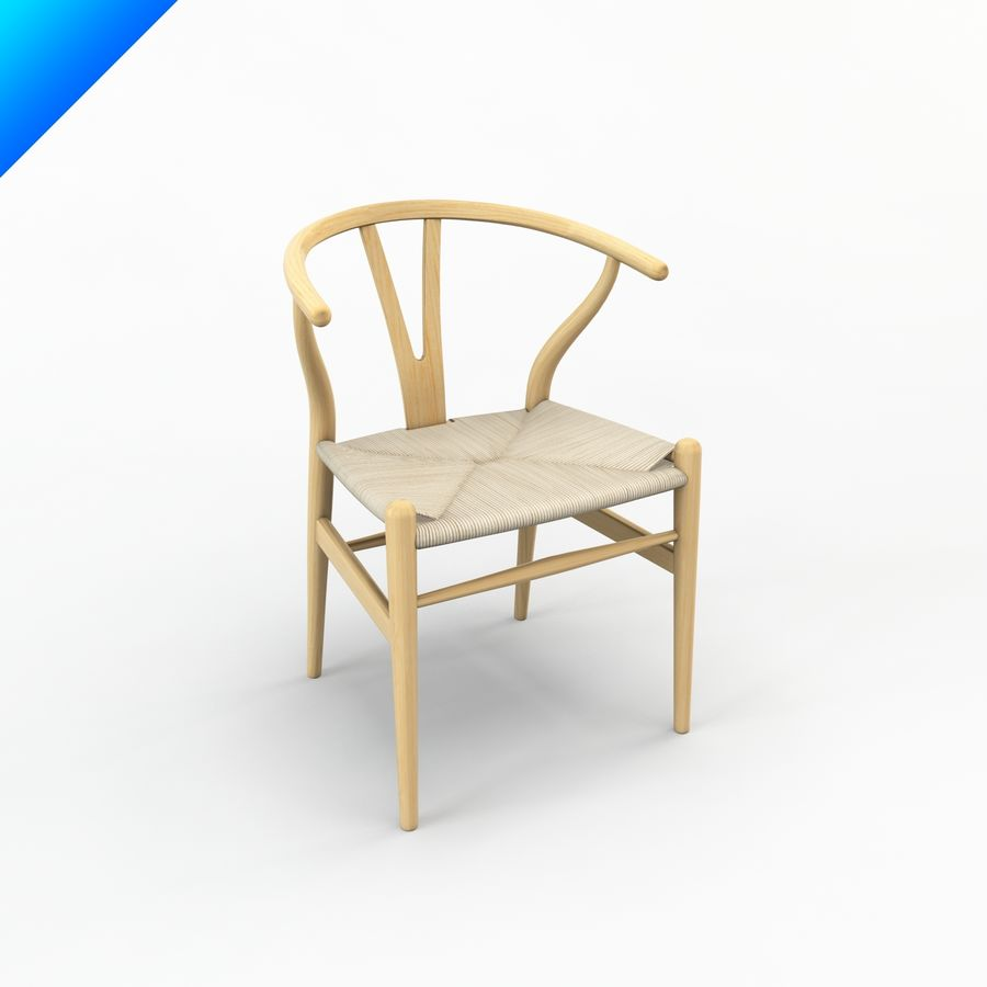 Hans Wegner Ch24 Wishbone Chair royalty-free 3d model - Preview no. 1