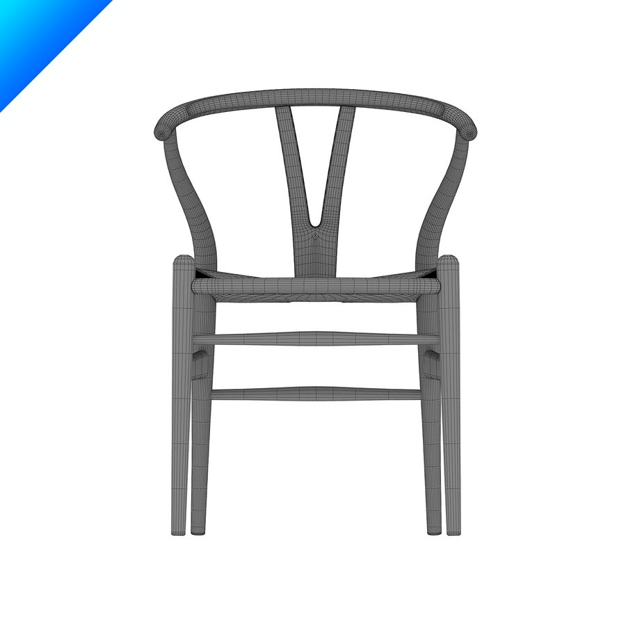Hans Wegner Ch24 Wishbone主席 royalty-free 3d model - Preview no. 10