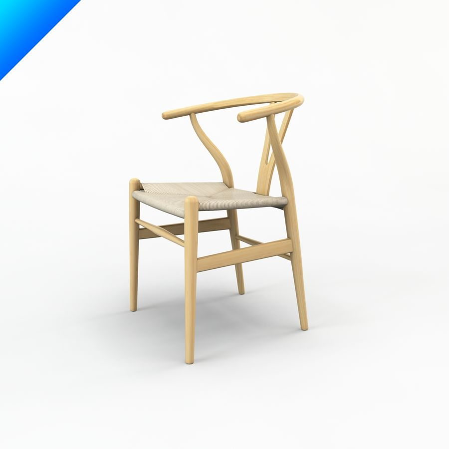 Hans Wegner Ch24 Wishbone Chair royalty-free 3d model - Preview no. 4