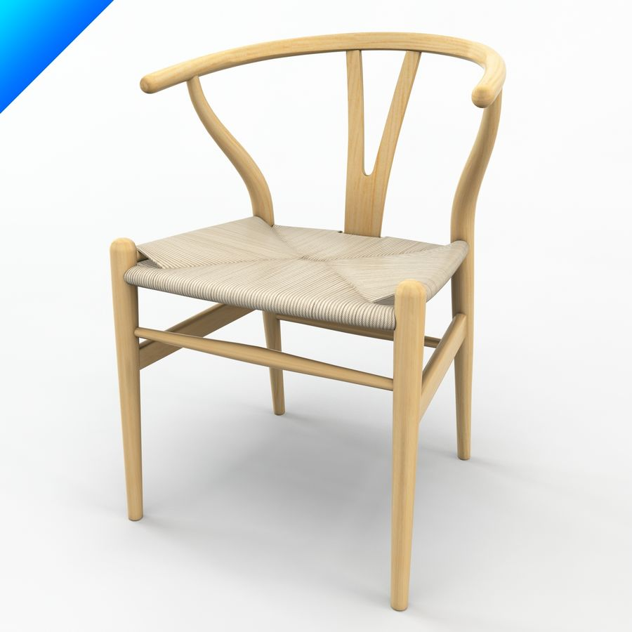 Hans Wegner Ch24 Wishbone Chair royalty-free 3d model - Preview no. 8