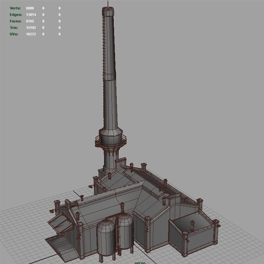 Old Factory royalty-free 3d model - Preview no. 11