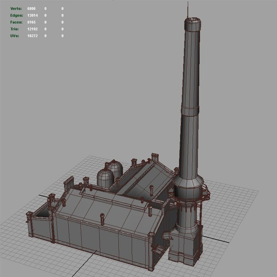 Old Factory royalty-free 3d model - Preview no. 10