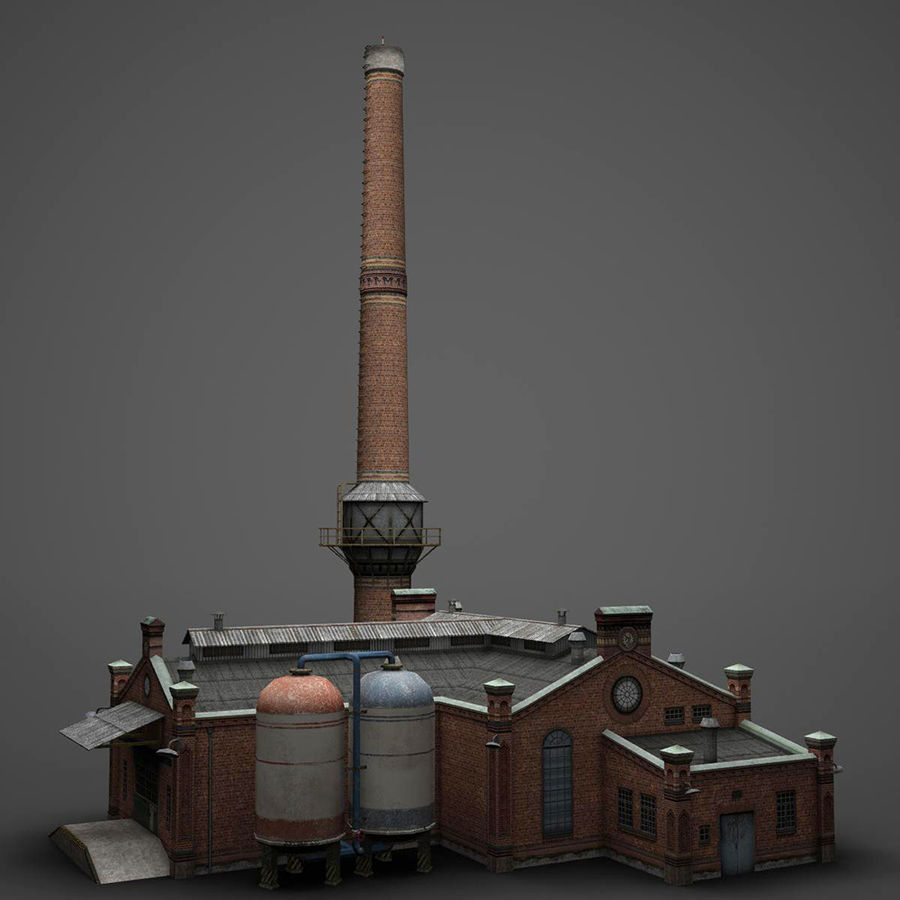 Old Factory royalty-free 3d model - Preview no. 2