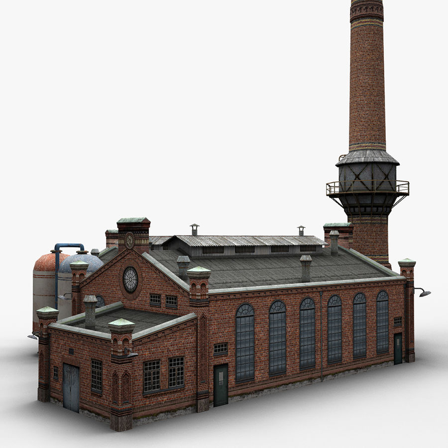 Old Factory royalty-free 3d model - Preview no. 6