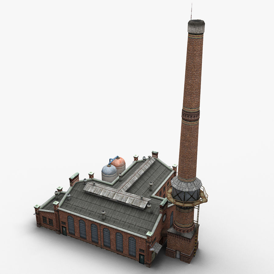 Old Factory royalty-free 3d model - Preview no. 8