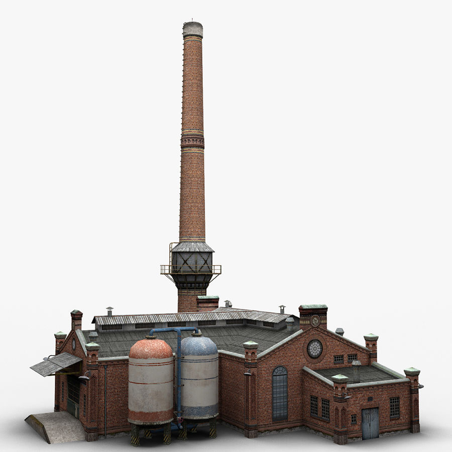 Old Factory royalty-free 3d model - Preview no. 1