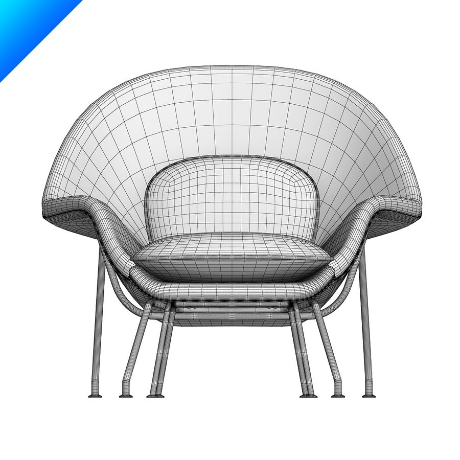 Knoll Womb Chair och ottomanska royalty-free 3d model - Preview no. 9