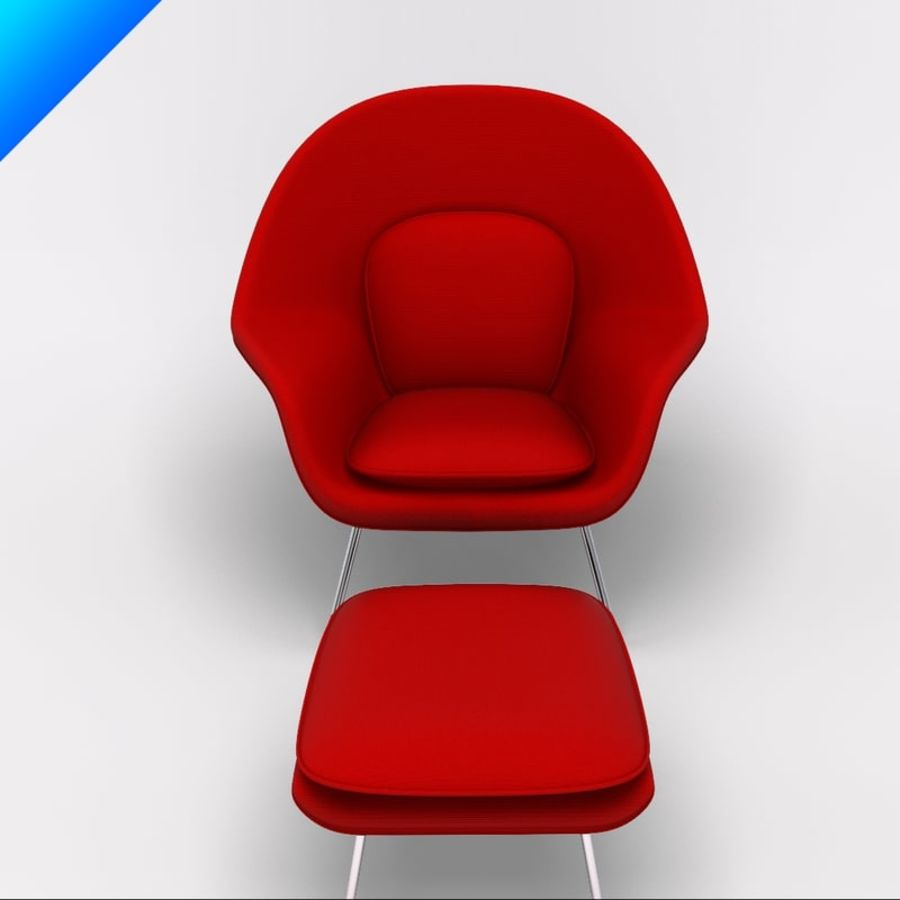 Knoll Womb Chair och ottomanska royalty-free 3d model - Preview no. 7