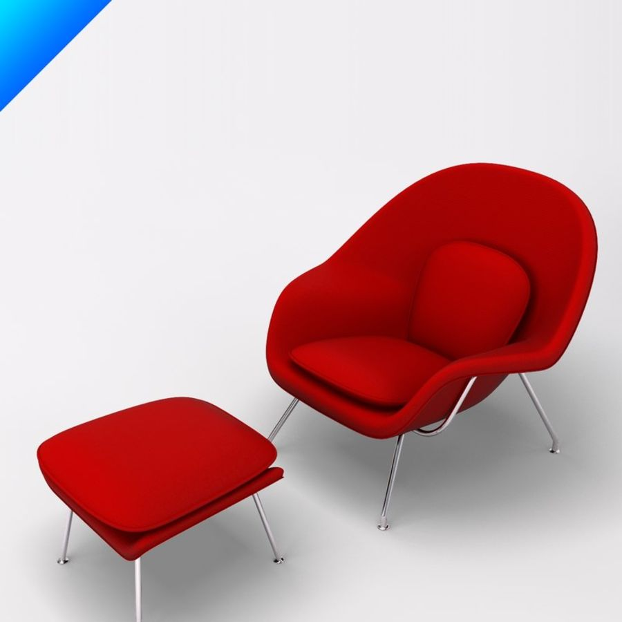 Knoll Womb Chair och ottomanska royalty-free 3d model - Preview no. 4