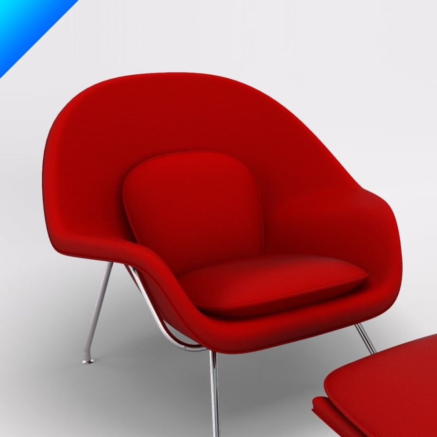 Knoll Womb Chair och ottomanska royalty-free 3d model - Preview no. 6