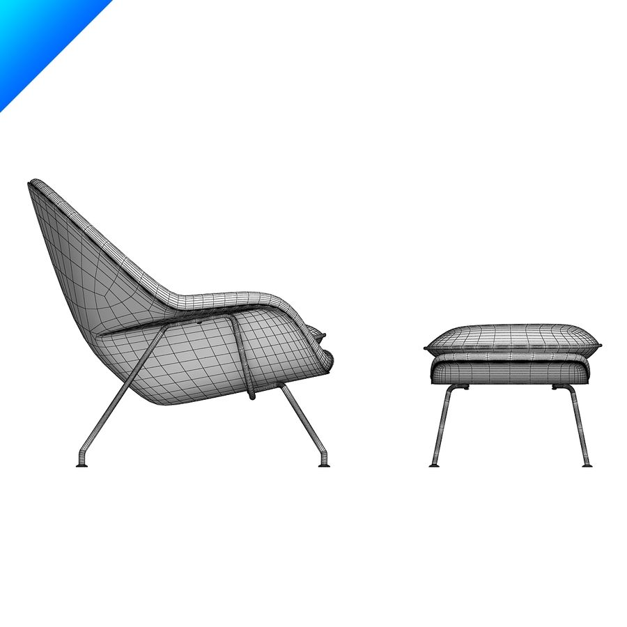 Knoll Womb Chair och ottomanska royalty-free 3d model - Preview no. 11