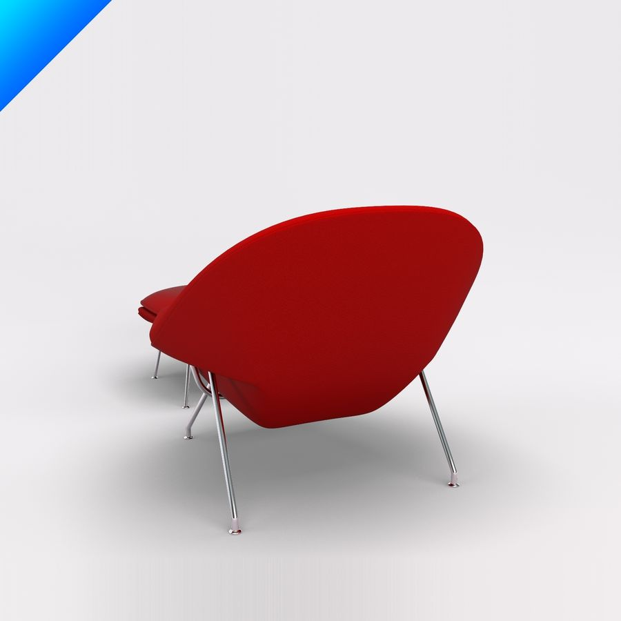 Knoll Womb Chair och ottomanska royalty-free 3d model - Preview no. 3