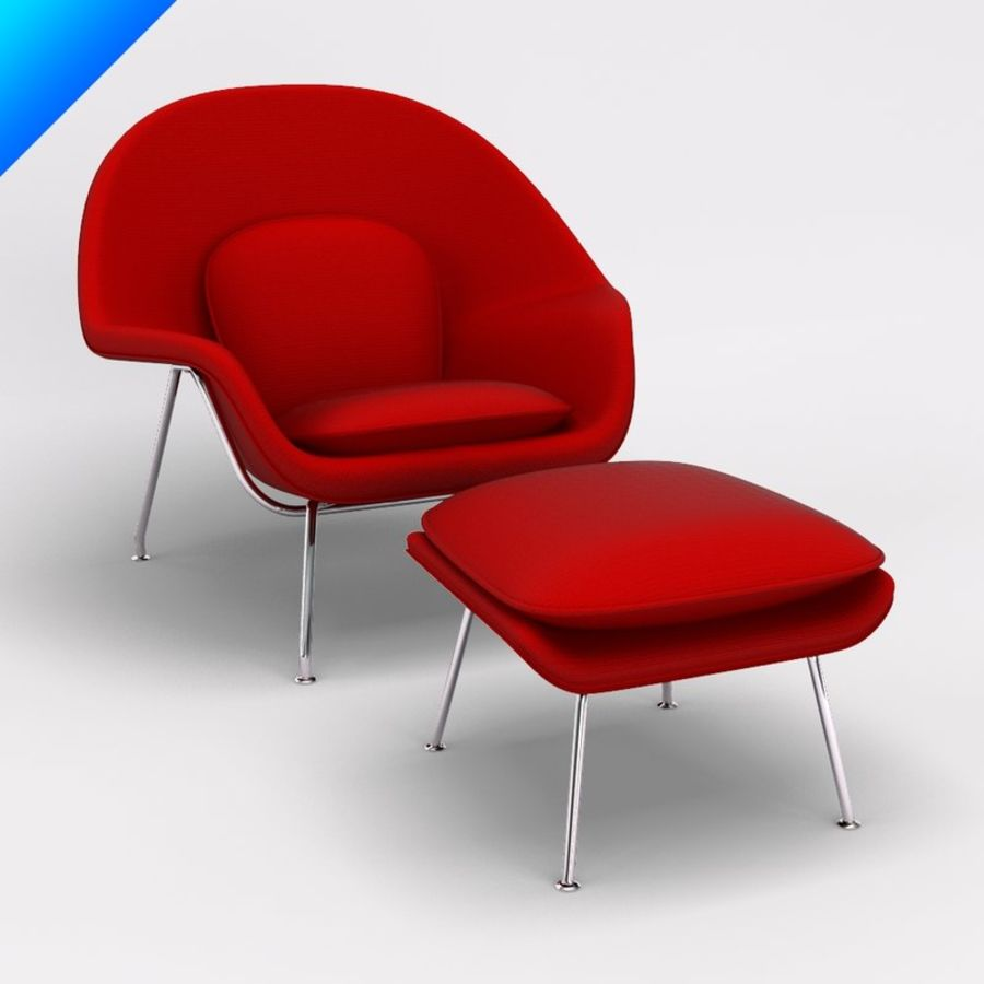 Knoll Womb Chair och ottomanska royalty-free 3d model - Preview no. 1