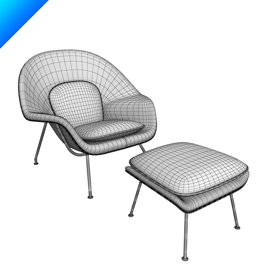 Knoll Womb Chair och ottomanska royalty-free 3d model - Preview no. 12