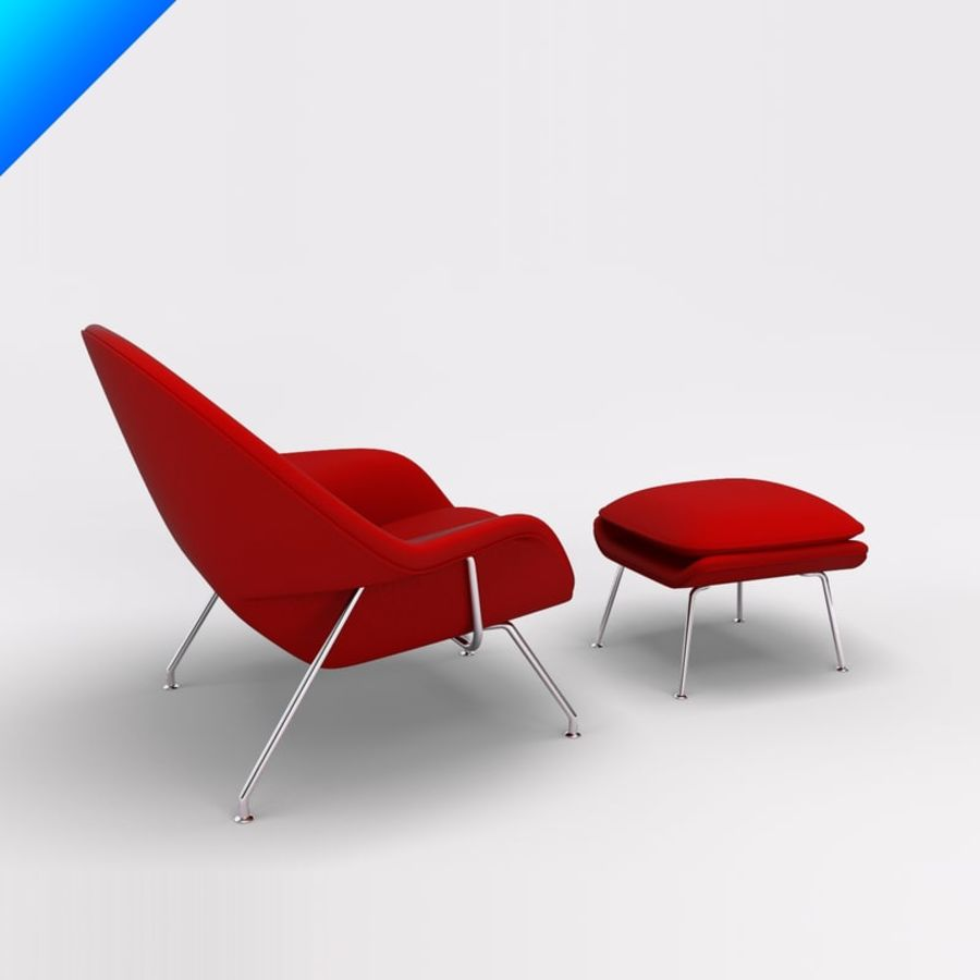 Knoll Womb Chair och ottomanska royalty-free 3d model - Preview no. 2