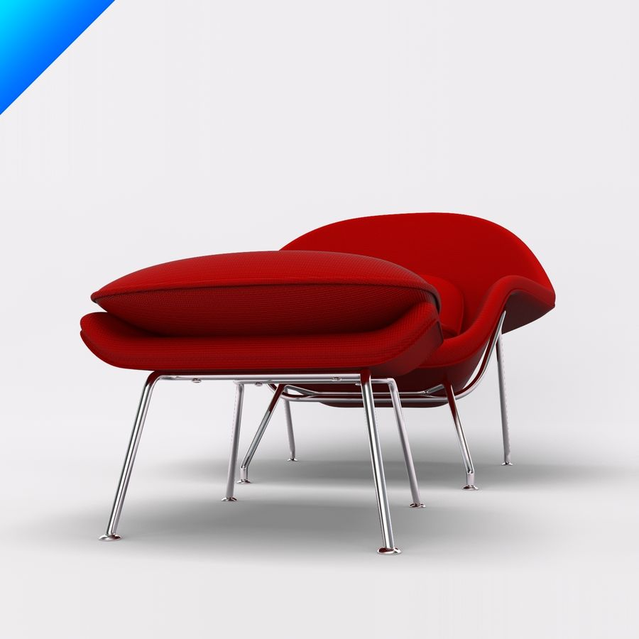 Knoll Womb Chair och ottomanska royalty-free 3d model - Preview no. 5