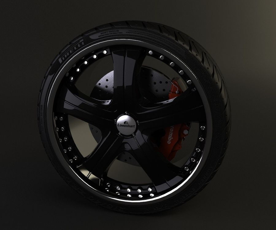 Wheel and tire royalty-free 3d model - Preview no. 3