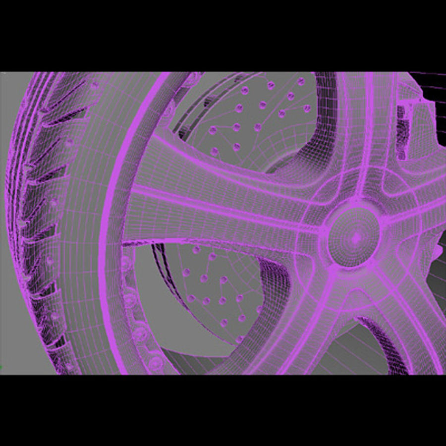 Wheel and tire royalty-free 3d model - Preview no. 5