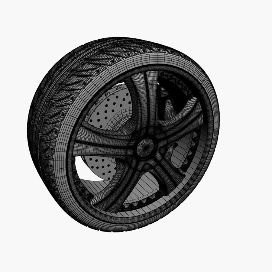 Wheel and tire royalty-free 3d model - Preview no. 2