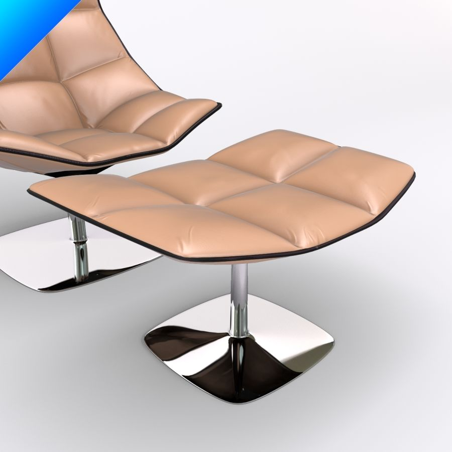 Jehs Laub Lounge Chair And Ottoman Pedestal Base Fixed Back Royalty Free 3d