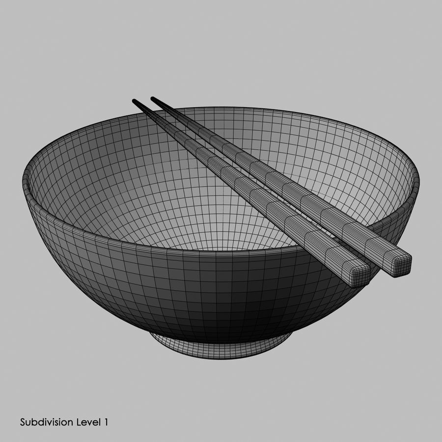 Miso Bowl royalty-free 3d model - Preview no. 7