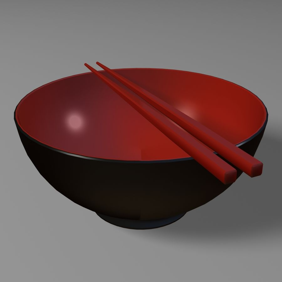 Miso Bowl royalty-free 3d model - Preview no. 5