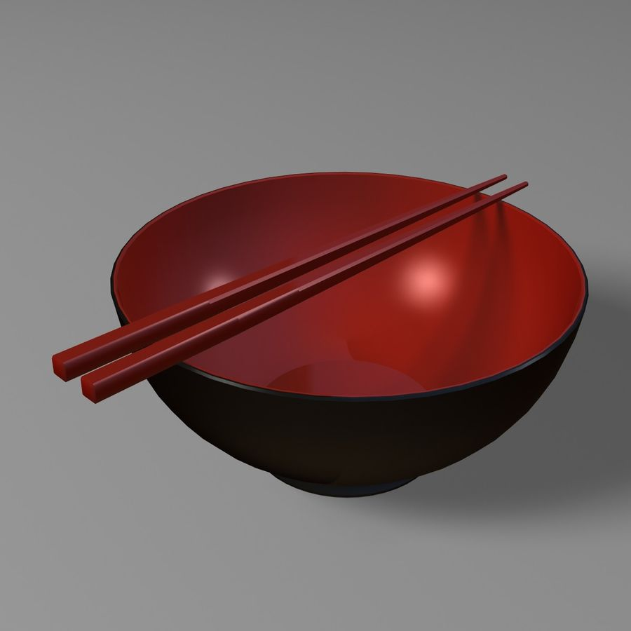 Miso Bowl royalty-free 3d model - Preview no. 4