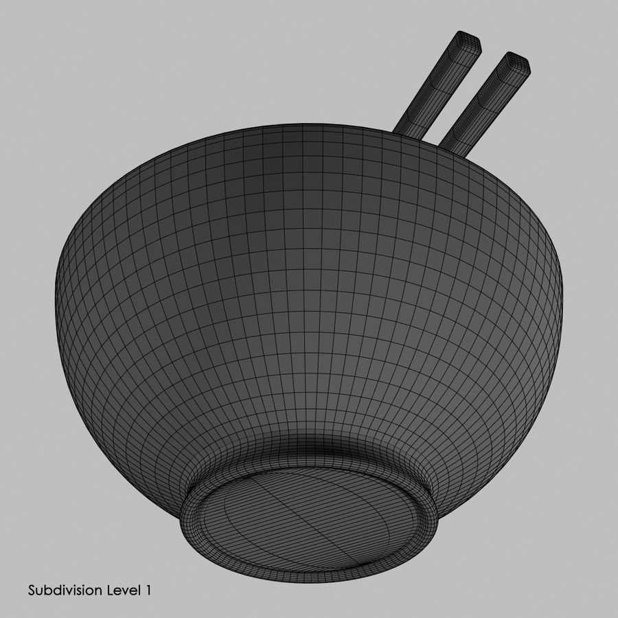 Miso Bowl royalty-free 3d model - Preview no. 9