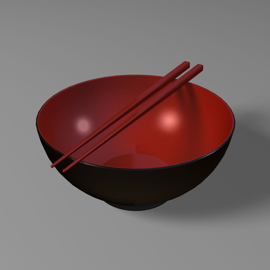 Miso Bowl royalty-free 3d model - Preview no. 3