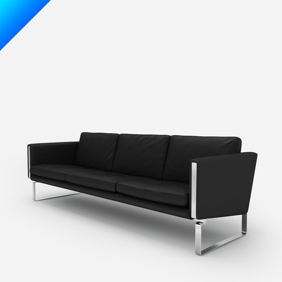 Hans Wegner CH103 Lounge Chair royalty-free 3d model - Preview no. 3