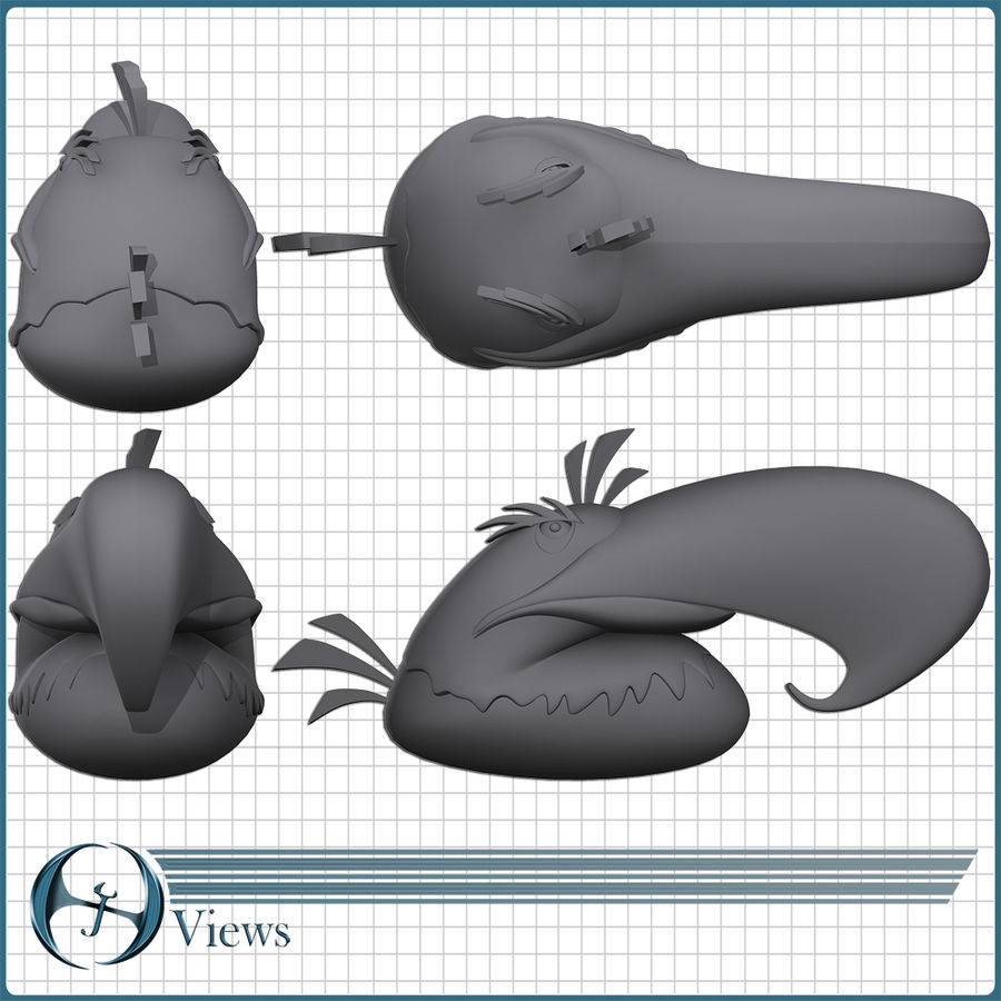 Angry Birds (Eagle) royalty-free 3d model - Preview no. 4