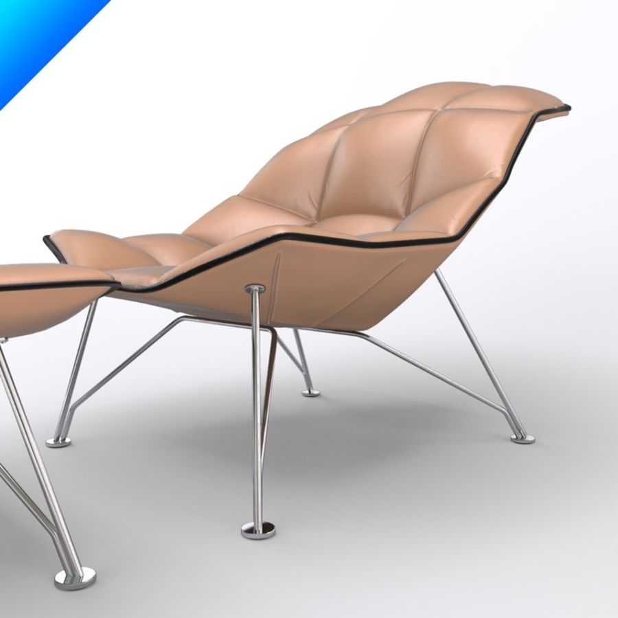 Jehs Laub Lounge Chair And Ottoman Wire Base Articulateing Back  Royalty Free 3d