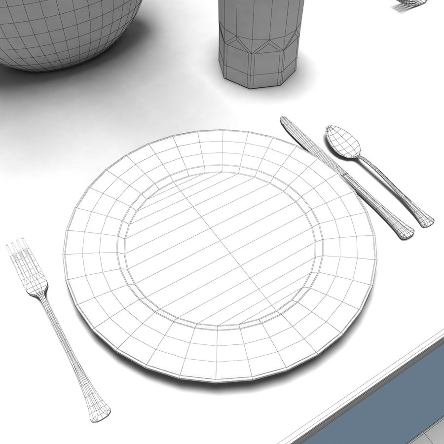 Traditional Dinner Table with place settings royalty-free 3d model - Preview no. 11
