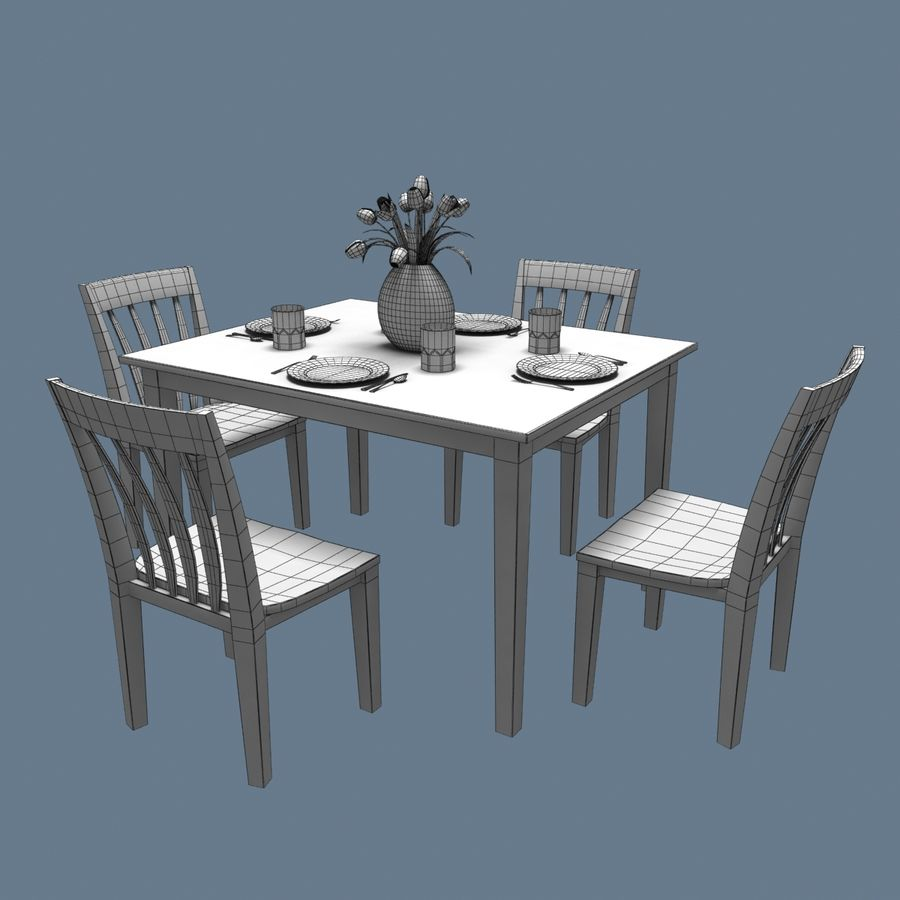 Traditional Dinner Table with place settings royalty-free 3d model - Preview no. 3