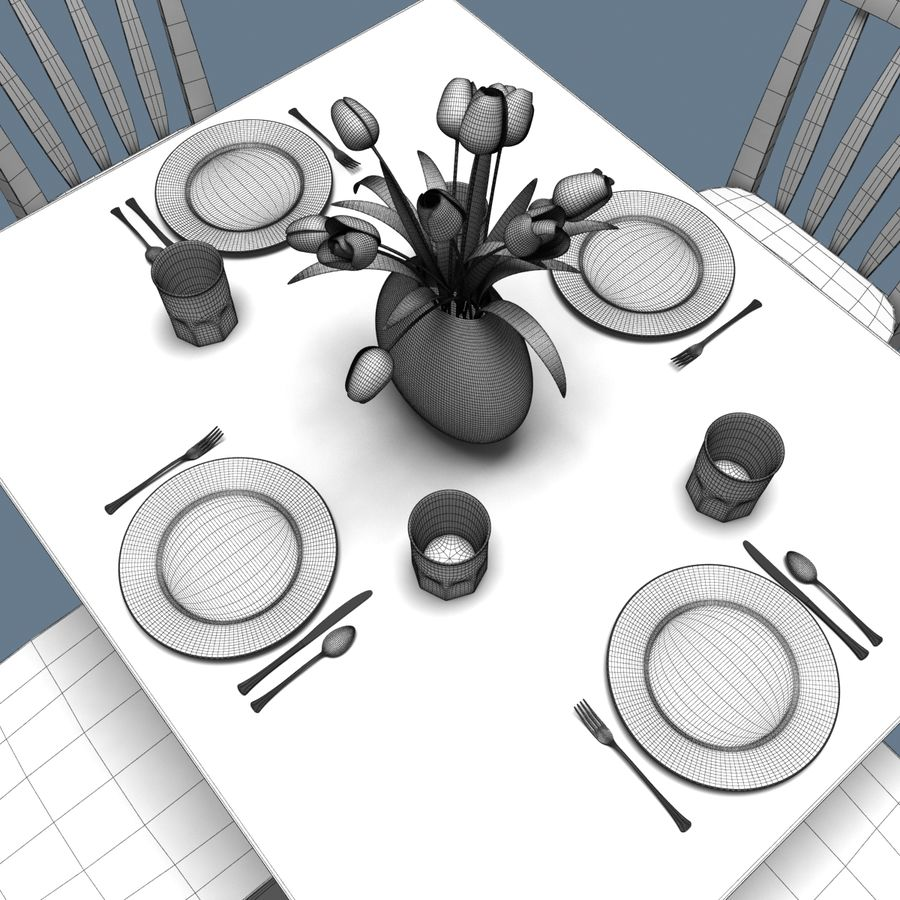 Traditional Dinner Table with place settings royalty-free 3d model - Preview no. 6