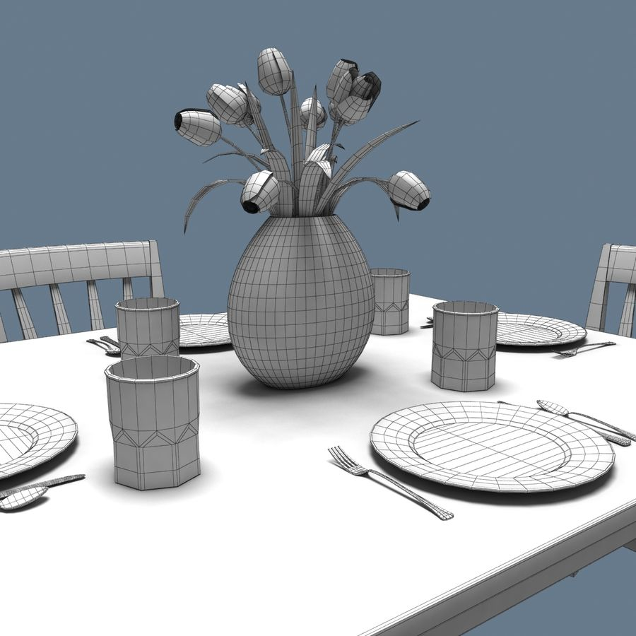 Traditional Dinner Table with place settings royalty-free 3d model - Preview no. 8