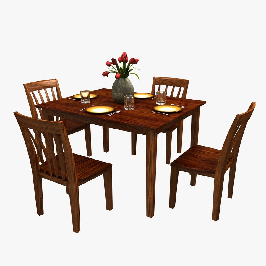 Traditional Dinner Table with place settings royalty-free 3d model - Preview no. 1