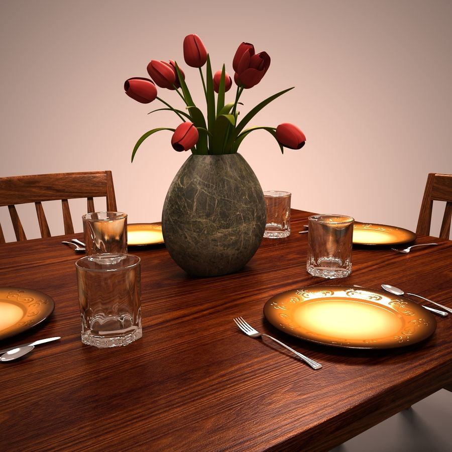 Traditional Dinner Table with place settings royalty-free 3d model - Preview no. 7