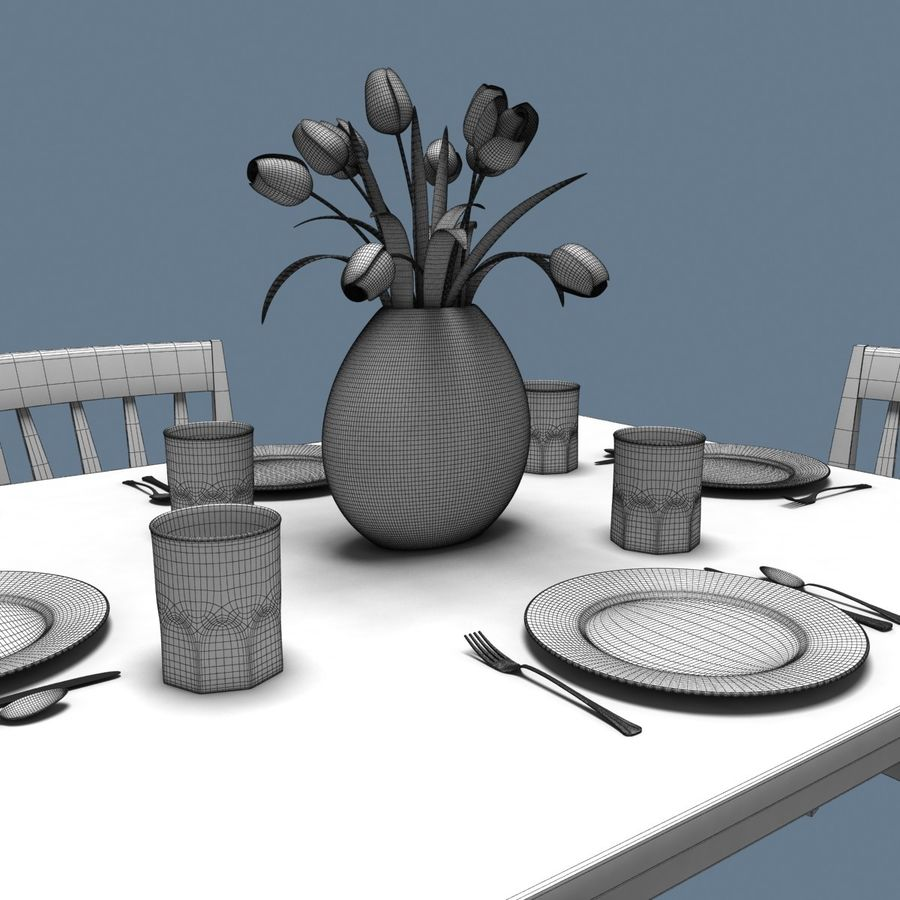 Traditional Dinner Table with place settings royalty-free 3d model - Preview no. 9