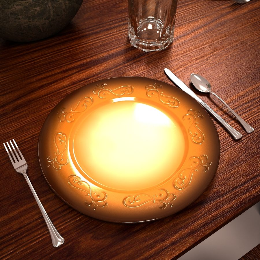 Traditional Dinner Table with place settings royalty-free 3d model - Preview no. 10
