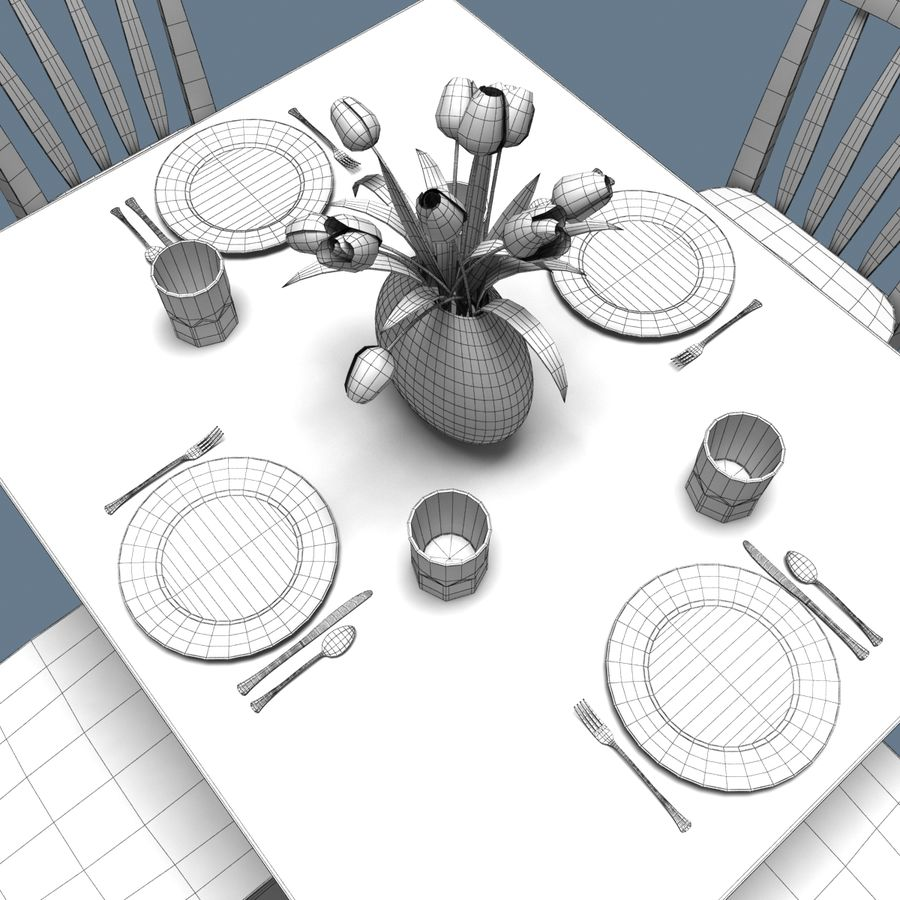 Traditional Dinner Table with place settings royalty-free 3d model - Preview no. 5