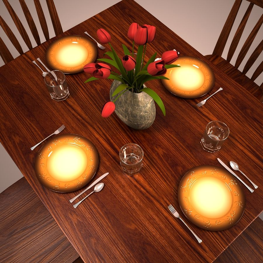 Traditional Dinner Table with place settings royalty-free 3d model - Preview no. 4