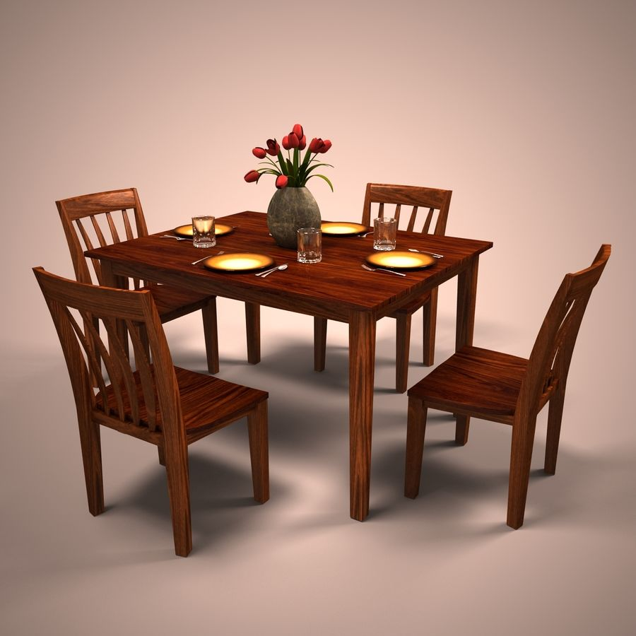 Traditional Dinner Table with place settings royalty-free 3d model - Preview no. 2
