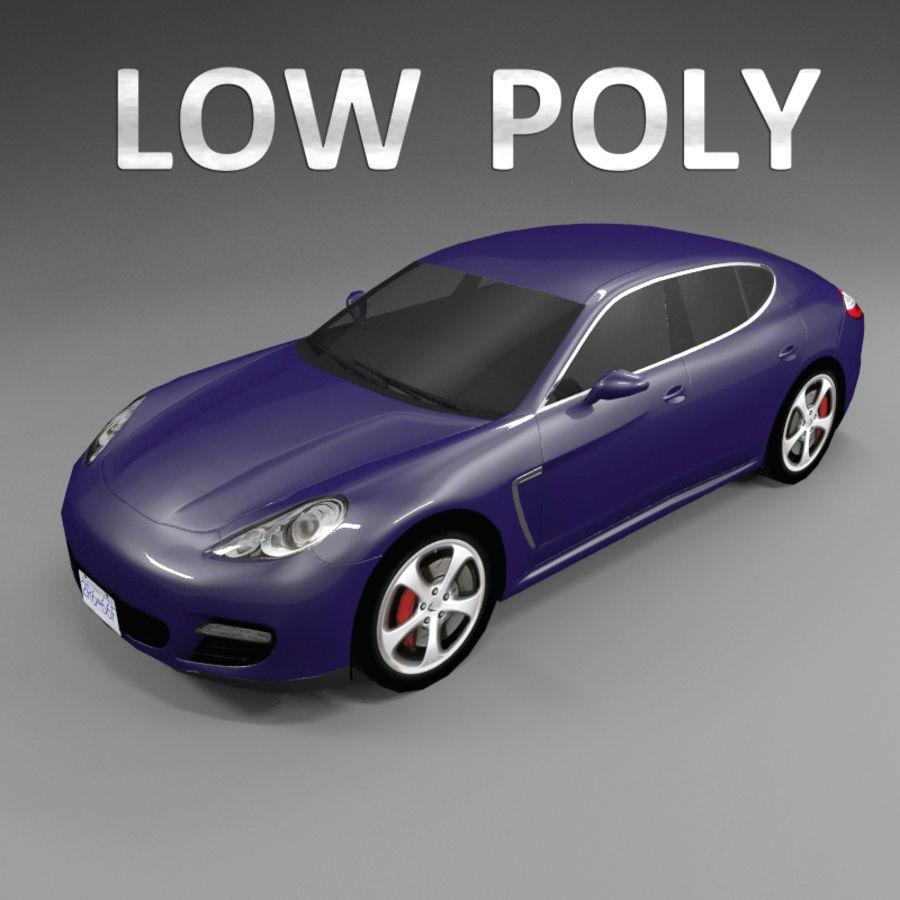 Car Low Polygon Porsche Panamera royalty-free 3d model - Preview no. 1
