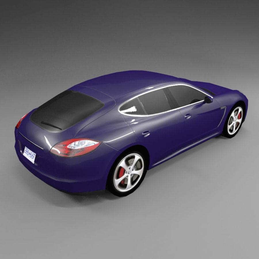 Car Low Polygon Porsche Panamera royalty-free 3d model - Preview no. 2