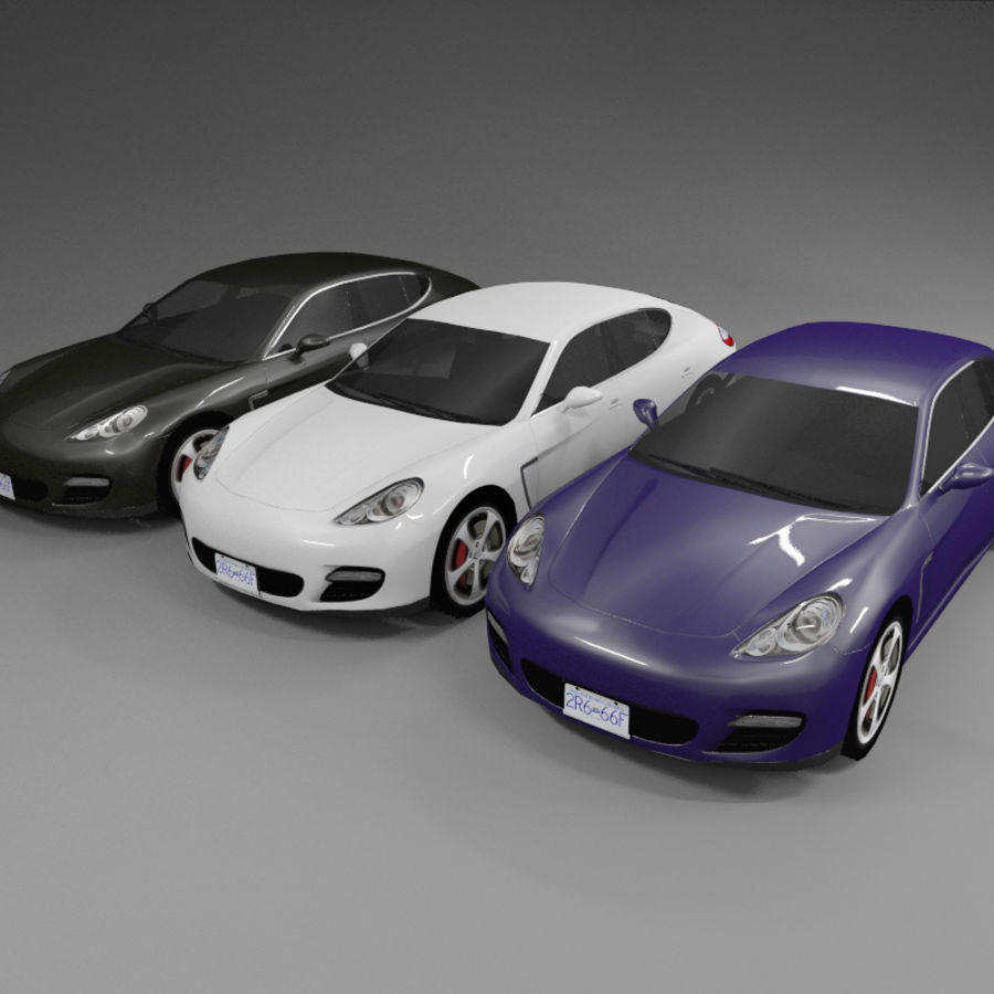 Car Low Polygon Porsche Panamera royalty-free 3d model - Preview no. 5