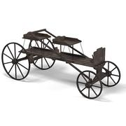 Horse drawn carriage old antique vintage wooden 3d model
