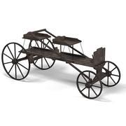 Hästdragen vagn gammal antika vintage trä 3d model